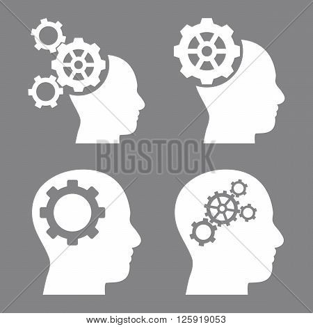 Intellect Gears vector icons. Style is white flat symbols on a gray background.