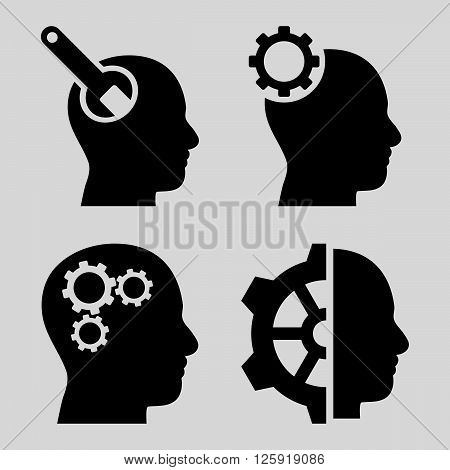 Brain Tools vector icons. Style is black flat symbols on a light gray background.