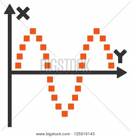 Sinusoid Plot vector toolbar icon. Style is bicolor flat icon symbol, orange and gray colors, white background, square dots.