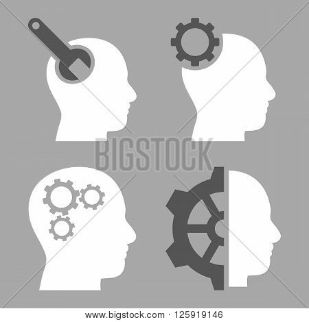 Brain Tools vector icons. Style is bicolor dark gray and white flat symbols on a silver background.