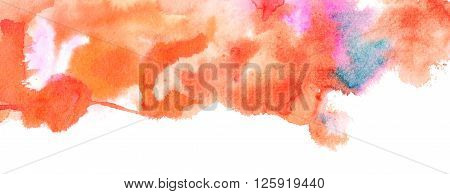 An abstract artistic background texture with watercolor stains of various colors with white space for text