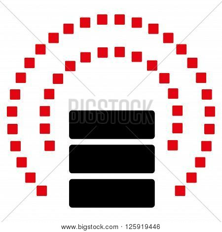 Database Sphere Shield vector toolbar icon. Style is bicolor flat icon symbol, intensive red and black colors, white background, square dots.