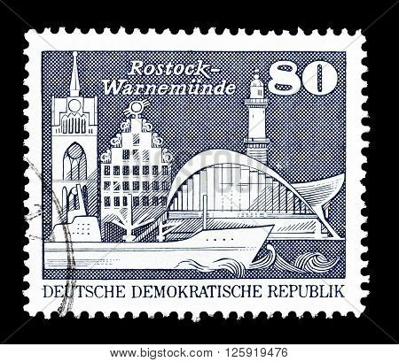 GERMAN DEMOCRATIC REPUBLIC - CIRCA 1974 : Cancelled postage stamp printed by German Democratic Republic, that shows Rostock.