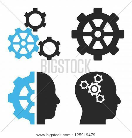 Intellect Gears vector icons. Style is bicolor blue and gray flat symbols on a white background.
