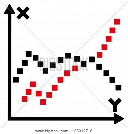 Functions Plot vector toolbar icon. Style is bicolor flat icon symbol, intensive red and black colors, white background, square dots.