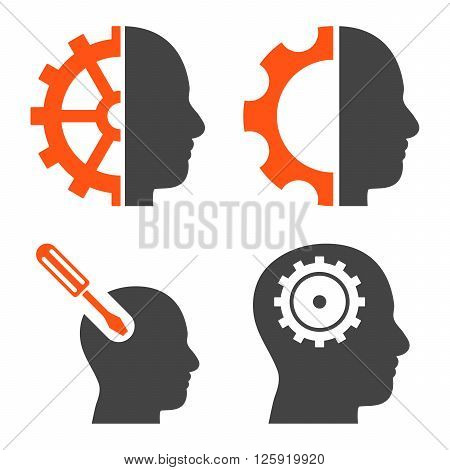 Brain Tools vector icons. Style is bicolor orange and gray flat symbols on a white background.