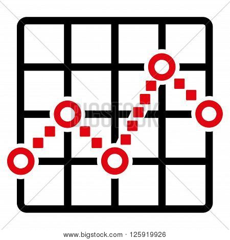 Line Plot vector toolbar icon. Style is bicolor flat icon symbol, intensive red and black colors, white background, square dots.