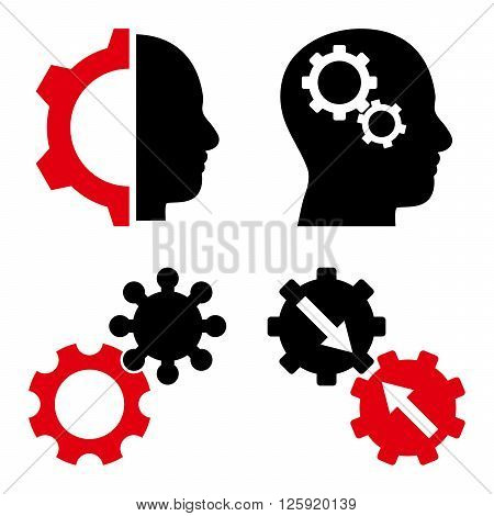 Intellect Gears vector icons. Style is bicolor intensive red and black flat symbols on a white background.