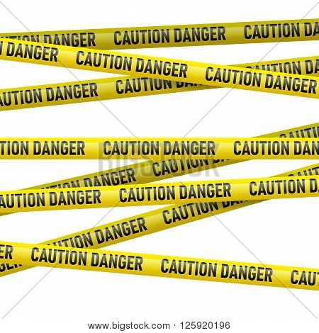 Realistic caution and danger yellow tape. Illustration on white background