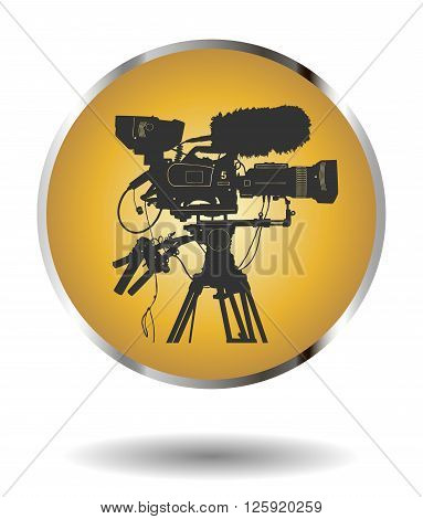 Vector Golden Icon With Detailed Professional Television Video Camera Isolated On White With Shadow.