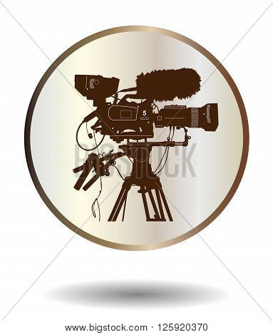 Vector Bronze And Ivory Icon With Detailed Professional Television Video Camera Isolated On White Wi