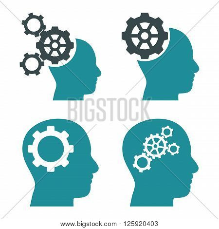Intellect Gears vector icons. Style is bicolor soft blue flat symbols on a white background.
