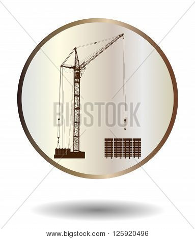 Vector  Bronze And Ivory Icon With High Detailed Vector Hoisting Crane Isolated On White With Shadow