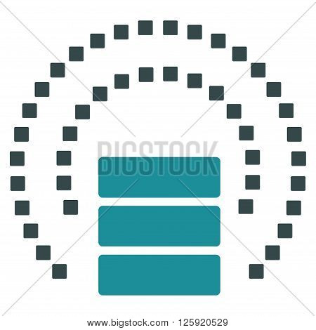 Database Sphere Shield vector toolbar icon. Style is bicolor flat icon symbol, soft blue colors, white background, square dots.