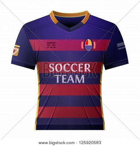 Soccer shirt for player. Part of association football uniform. Qualitative vector illustration about soccer sport game championship gameplay etc. It has transparency blending modes gradients