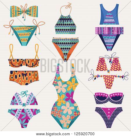 Set of 8 women's multi-colored swimsuits. Bathing suit various models. Vector illustration.