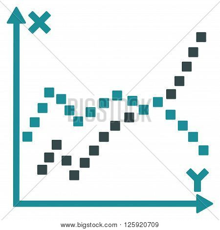 Functions Plot vector toolbar icon. Style is bicolor flat icon symbol, soft blue colors, white background, square dots.