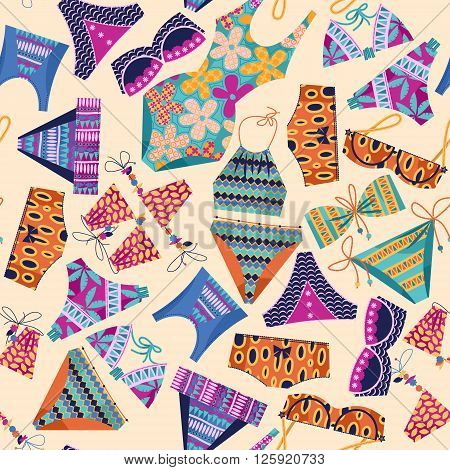 Women's multi-colored swimsuits. Bathing suit various models. Seamless background pattern. Vector illustration