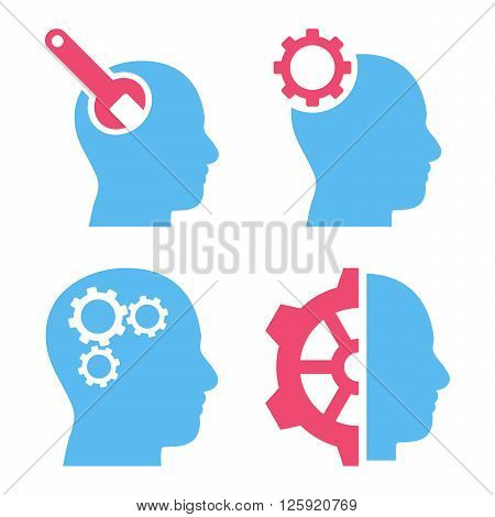 Brain Tools vector icons. Style is bicolor pink and blue flat symbols on a white background.