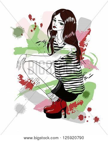 A squatting girl. Model girl in a striped blouse. Fashion illustration