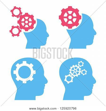 Intellect Gears vector icons. Style is bicolor pink and blue flat symbols on a white background.