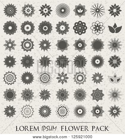 Pack Of 49 Transparent Light Grey Abstract Geometric Flowers Logo Template On Vintage Ivory Backgrou