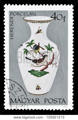 HUNGARY - CIRCA 1972 : Cancelled postage stamp printed by Hungary, that shows Porcelain vase.