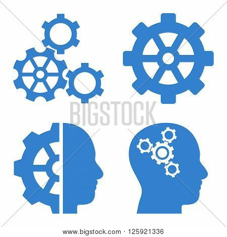 Intellect Gears vector icons. Style is cobalt flat symbols on a white background.