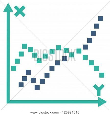 Functions Plot vector toolbar icon. Style is bicolor flat icon symbol, cobalt and cyan colors, white background, square dots.