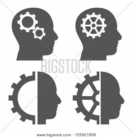 Intellect Gears vector icons. Style is gray flat symbols on a white background.