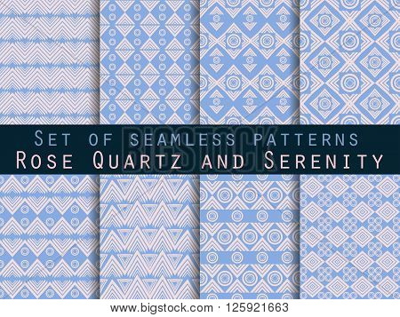 Set Seamless Pattern In Ethnic Style. Tribal Seamless Texture. Seamless Pattern In Hippie Style. Ros
