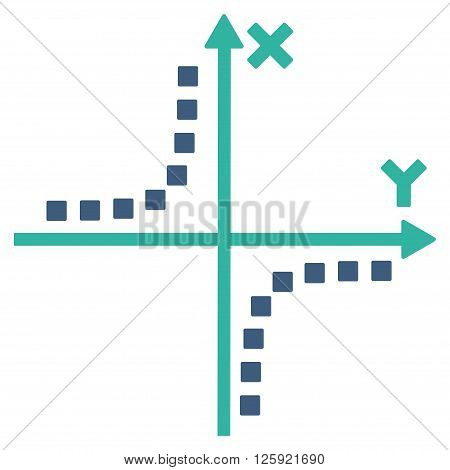 Hyperbola Plot vector toolbar icon. Style is bicolor flat icon symbol, cobalt and cyan colors, white background, square dots.