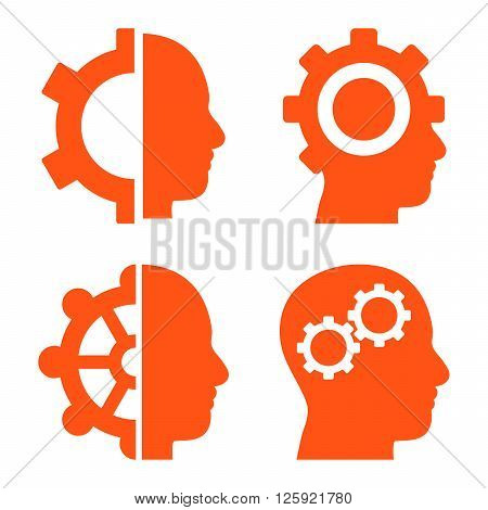 Intellect Gears vector icons. Style is orange flat symbols on a white background.