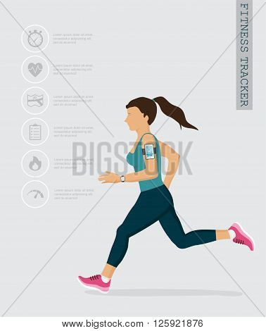 Vector fitness icons and illustrations in flat style - fitness tracker and running people . infographics design elements