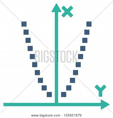Parabole Plot vector toolbar icon. Style is bicolor flat icon symbol, cobalt and cyan colors, white background, square dots.