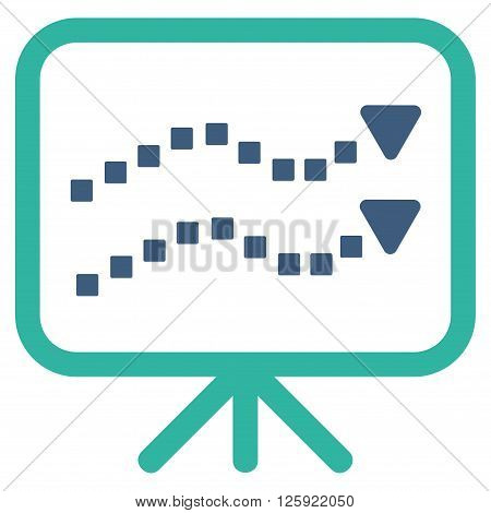 Trends Presentation vector toolbar icon. Style is bicolor flat icon symbol, cobalt and cyan colors, white background, square dots.