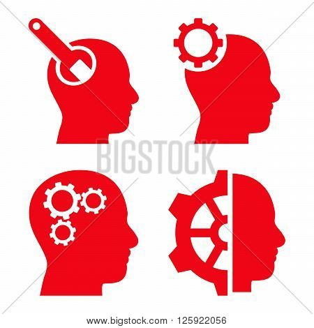 Brain Tools vector icons. Style is red flat symbols on a white background.