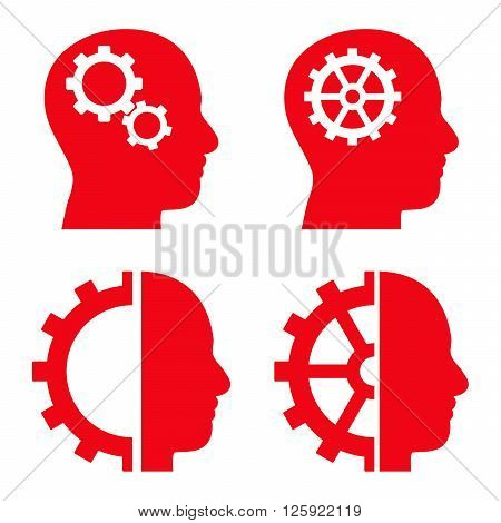 Intellect Gears vector icons. Style is red flat symbols on a white background.