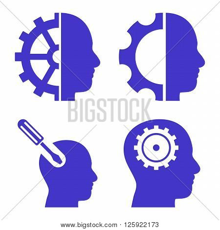 Brain Tools vector icons. Style is violet flat symbols on a white background.