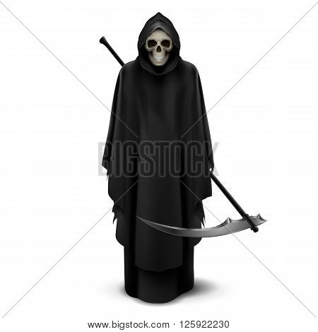 Angel of death with a scythe in his hands on white background.
