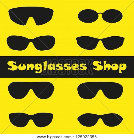 Set of sunglasses. Black silhouettes on a yellow background. Shop sunglasses