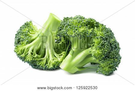 Double broccoli group isolated on white background as package design element