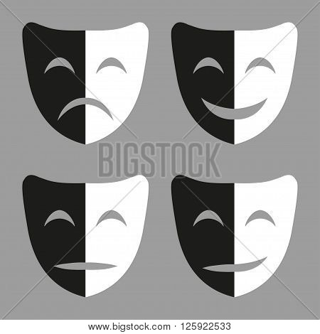 Set of black and white masks with emotions