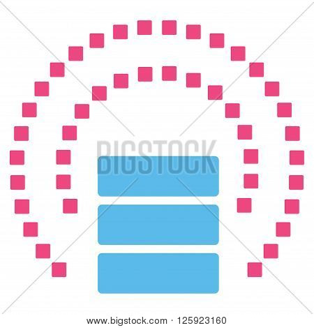 Database Sphere Shield vector toolbar icon. Style is bicolor flat icon symbol, pink and blue colors, white background, square dots.