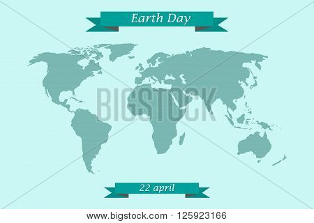 Earth Day April 22. World map with congratulatory ribbons