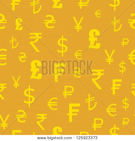 Icons set of currencies of the world. Seamless pattern. Dollar euro pounds francs rupees yen