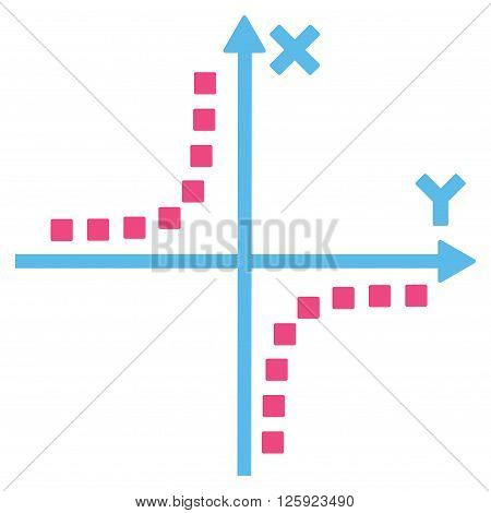 Hyperbola Plot vector toolbar icon. Style is bicolor flat icon symbol, pink and blue colors, white background, square dots.