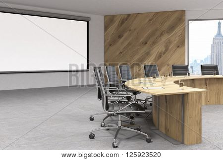 Blank whiteboard in conference room interior with wooden table swivel chairs and New York view. Mock up 3D Rendering
