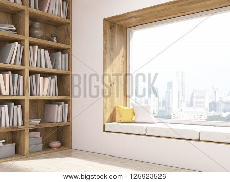 Sideview of interior design with windowstool seat bookshelves and city view. 3D Rendering
