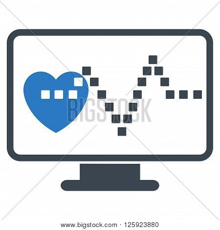 Cardio Monitoring vector toolbar icon. Style is bicolor flat icon symbol, smooth blue colors, white background, square dots.